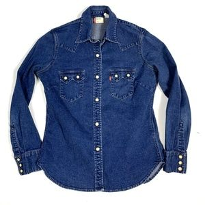 Levis Red Tab M Denim Pearl Snap Shirt Button Up